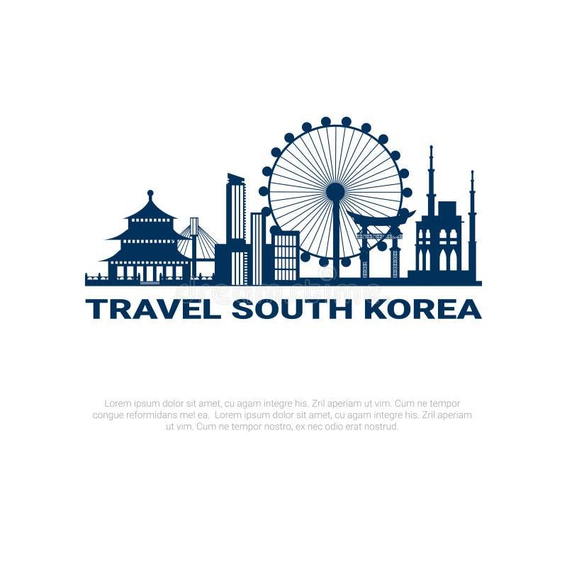 Viaje a la opinión de la ciudad de Seul de la silueta del cartel de la Corea del Sur con los rascacielos y las señales famosas en stock de ilustración