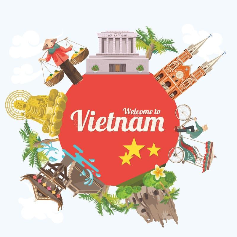 Viaje a la tarjeta de Vietnam con el círculo y vistas rojos stock de ilustración