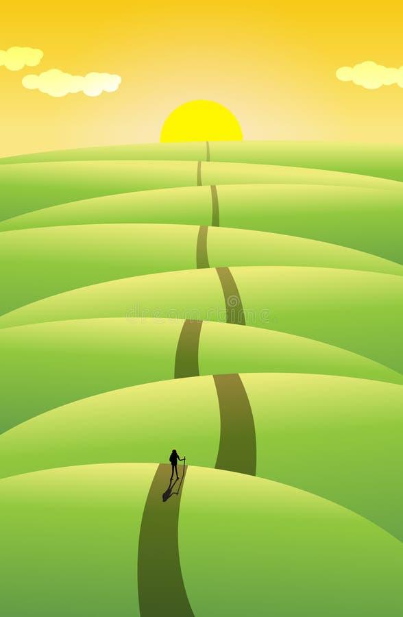 Viaje largo, largo ilustración del vector