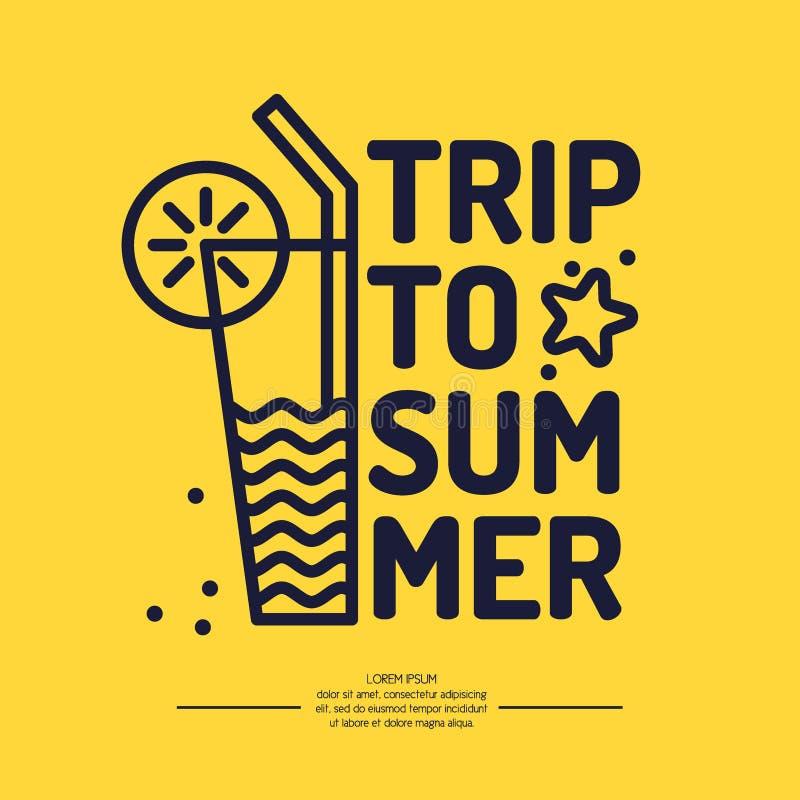 Viaje linear del verano del texto del cartel con un cóctel libre illustration