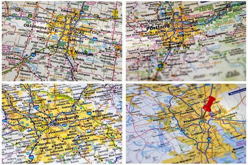 Viaje los E.E.U.U. del mapa al aire libre imagen de archivo libre de regalías
