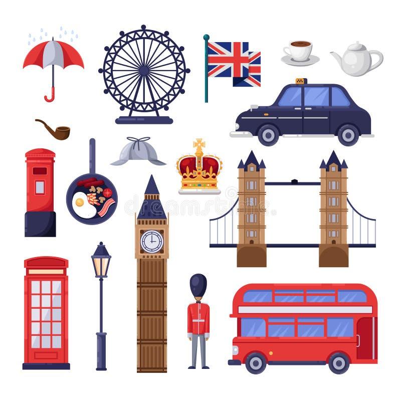 Viaje a los elementos del diseño de Gran Bretaña Ejemplo turístico de las señales de Londres Iconos aislados historieta del vecto libre illustration