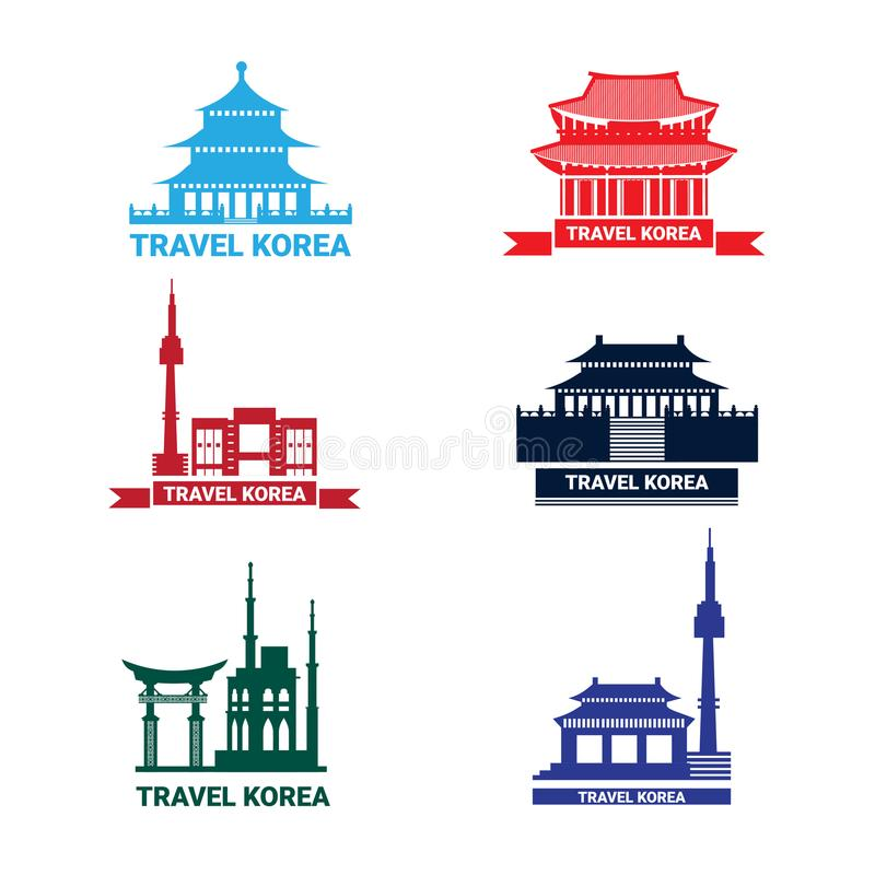 Viaje a los iconos de Corea fijados, a la colección de palacio surcoreano de las señales de Seul de la silueta y al templo libre illustration