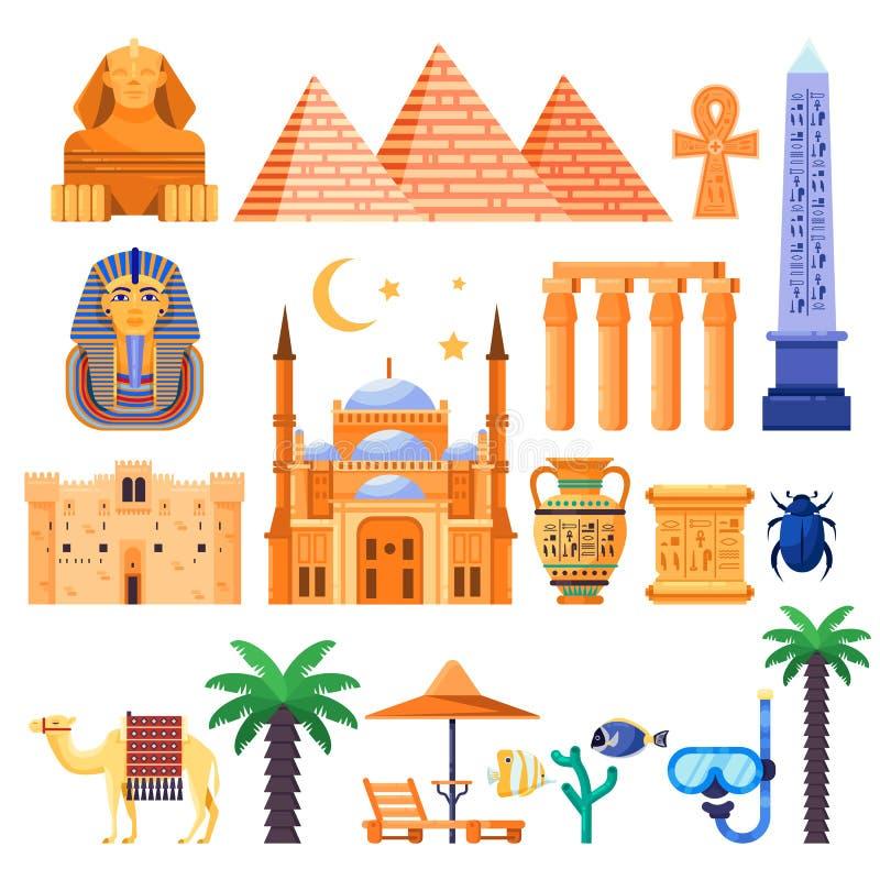 Viaje a los iconos del vector de Egipto y a los elementos del diseño Símbolos nacionales egipcios y ejemplo plano de las señales  libre illustration