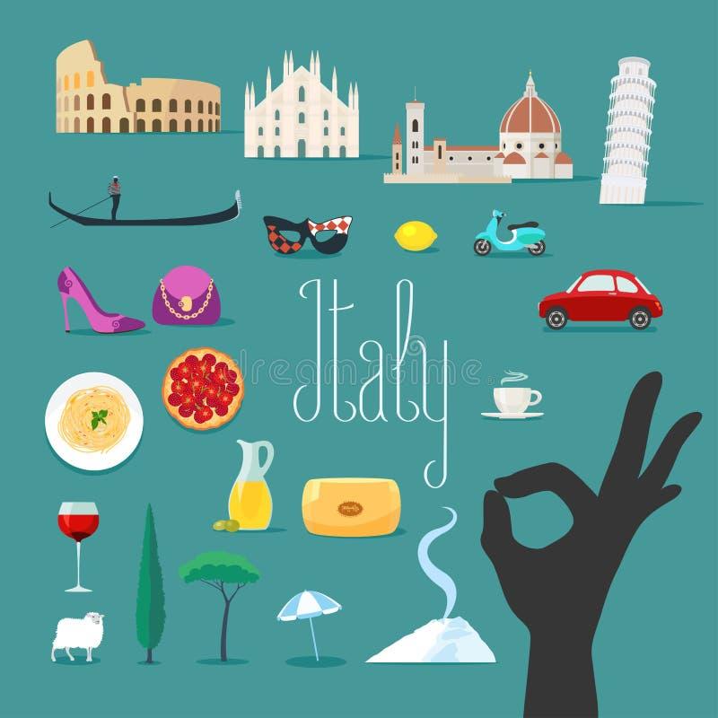 Viaje a los iconos del vector de Italia fijados Señales italianas, catedral, góndola libre illustration