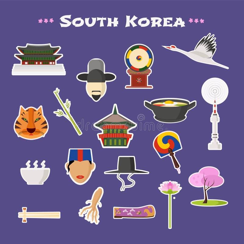 Viaje a los iconos del vector de la Corea del Sur fijados libre illustration