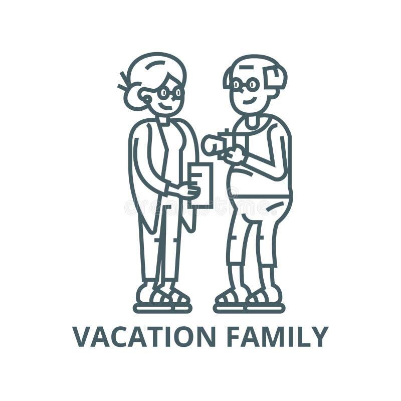 Viaje mayor de los pares, línea icono, vector de la familia de vacaciones Viaje mayor de los pares, muestra del esquema de la fa libre illustration