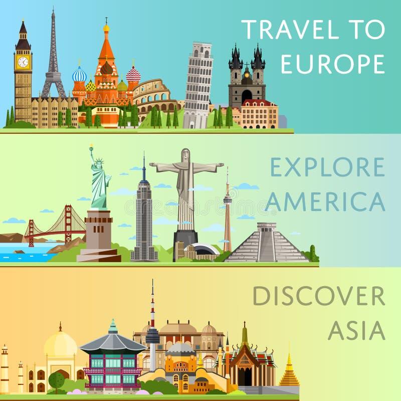 Viaje mundial fijado con las atracciones famosas del horizonte stock de ilustración