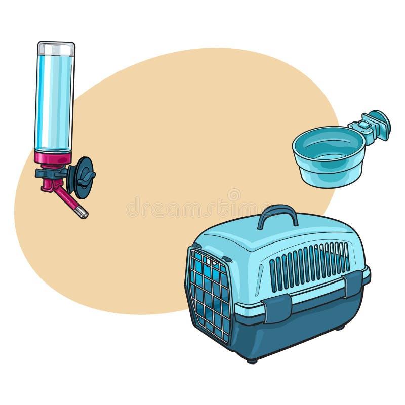 Viaje plástico del animal doméstico, portador del transporte, cuenco de alimentación y bebedor recargable ilustración del vector