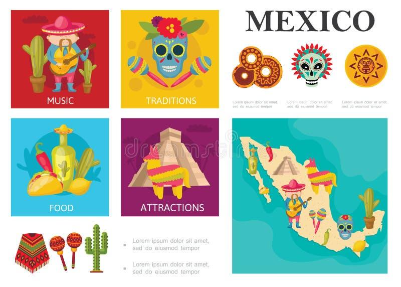 Viaje plano al concepto de México ilustración del vector