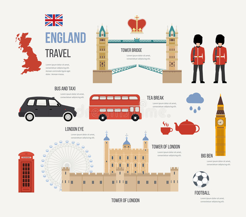 Viaje plano del diseño de los iconos de Londres, Reino Unido ilustración del vector