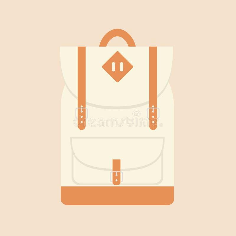 Viaje plano y mochila de la escuela imagenes de archivo