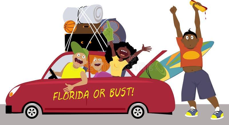 Viaje por carretera de las vacaciones de primavera ilustración del vector