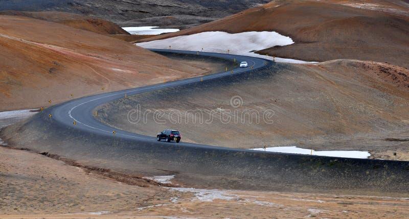 Viaje por carretera islandés foto de archivo