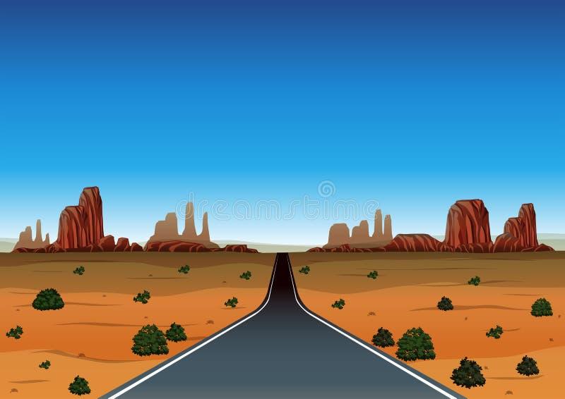 Viaje por carretera a través del desierto ilustración del vector