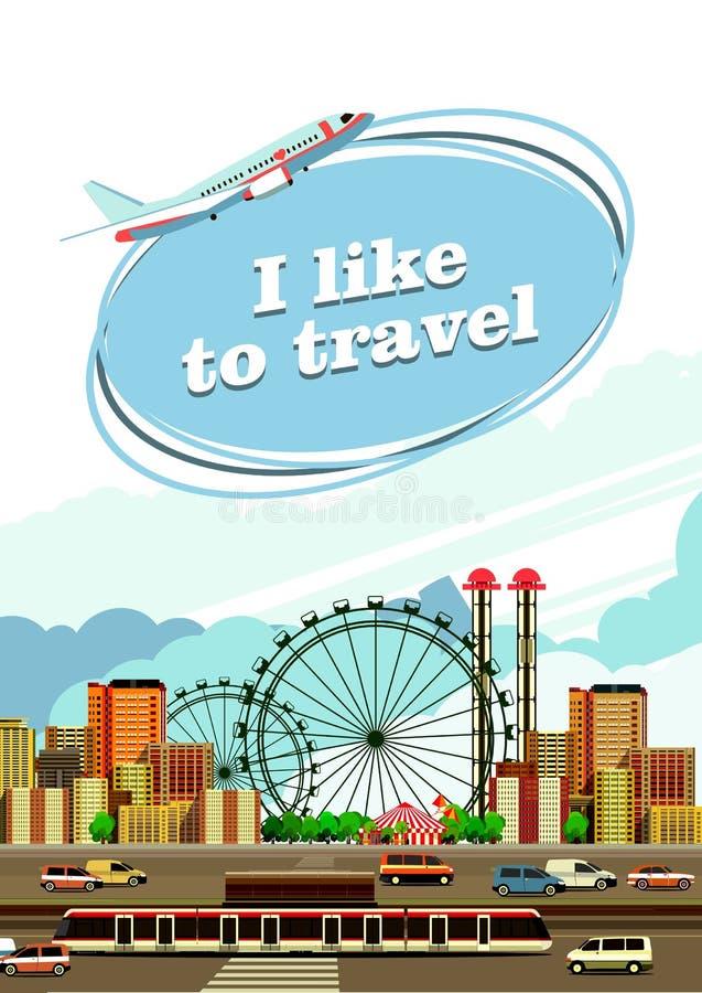 Viaje por el aviador de la ciudad libre illustration
