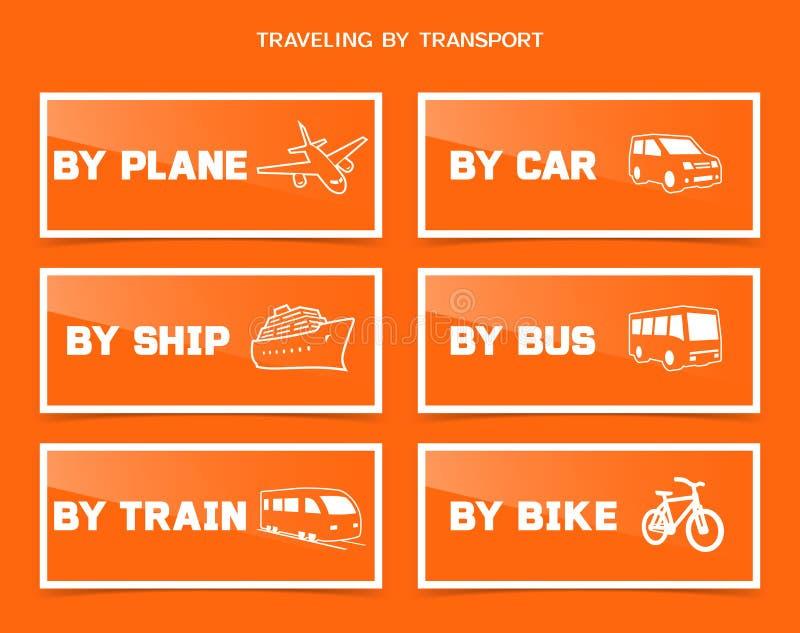 Viaje por los diversos iconos del transporte fijados stock de ilustración