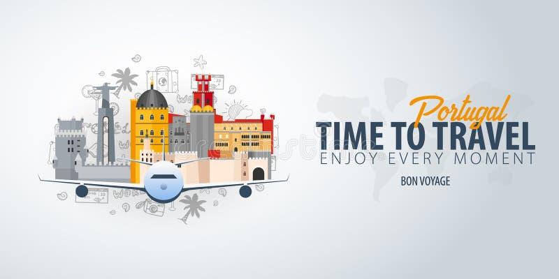 Viaje a Portugal Hora de viajar Bandera con el aeroplano y garabatos del mano-drenaje en el fondo Ilustración del vector stock de ilustración