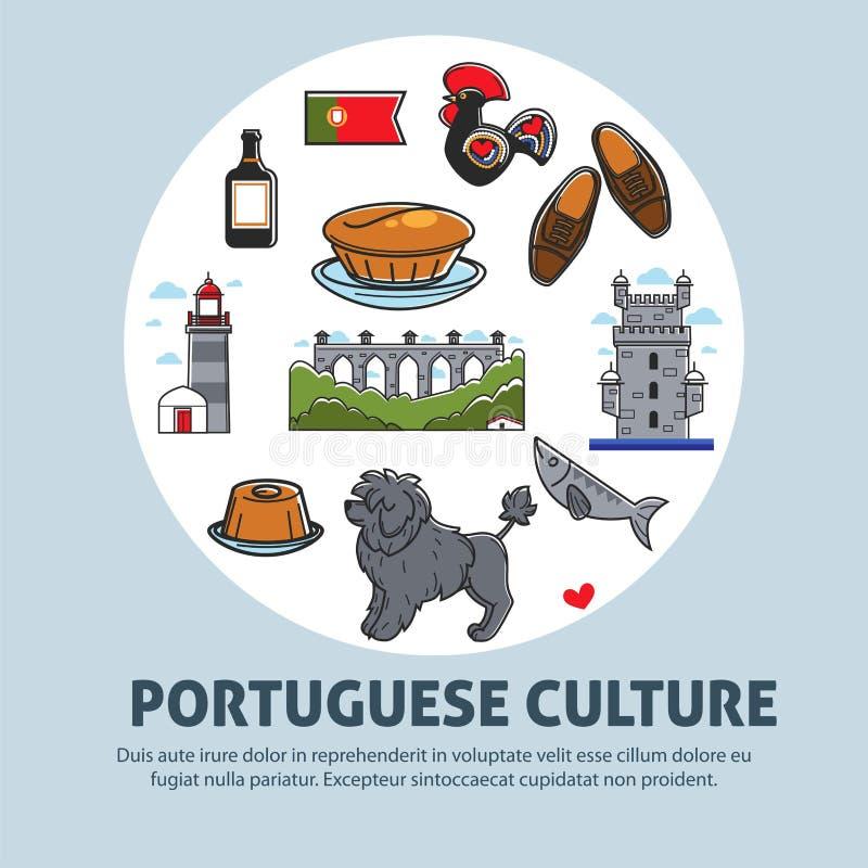Viaje portugués de la cultura a la comida y al animal de la arquitectura de Portugal ilustración del vector