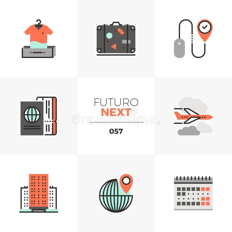 Viaje que planea los iconos siguientes de Futuro stock de ilustración