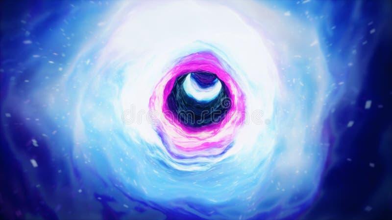 Viaje a través de un wormhole a través del tiempo y del espacio llenados de millones de estrellas y de nebulosas Deformación del  stock de ilustración