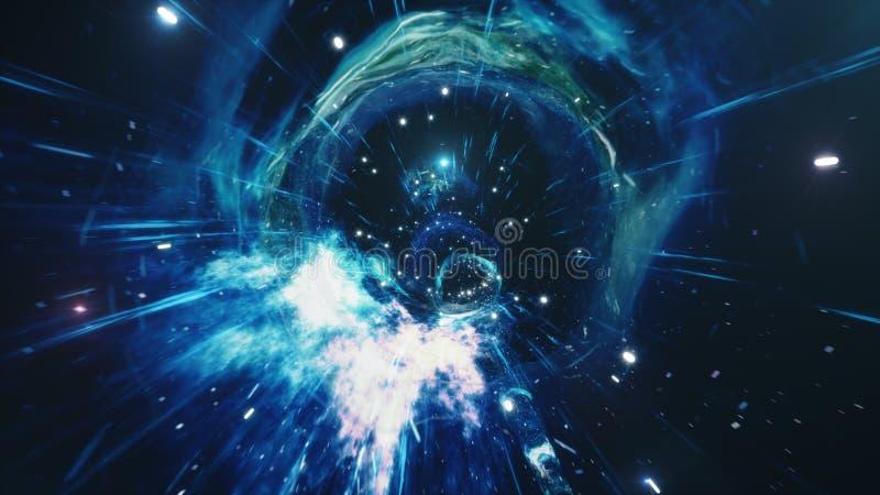 Viaje a través de un wormhole a través del tiempo y del espacio llenados de millones de estrellas y de nebulosas Deformación del  libre illustration