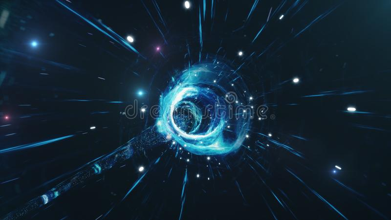 Viaje a través de un wormhole a través del tiempo y del espacio llenados de millones de estrellas y de nebulosas Deformación del  ilustración del vector
