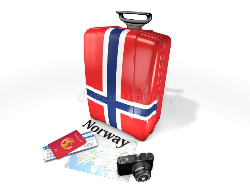Viaje: una maleta con la bandera de Noruega, aislada en el fondo blanco ilustración del vector