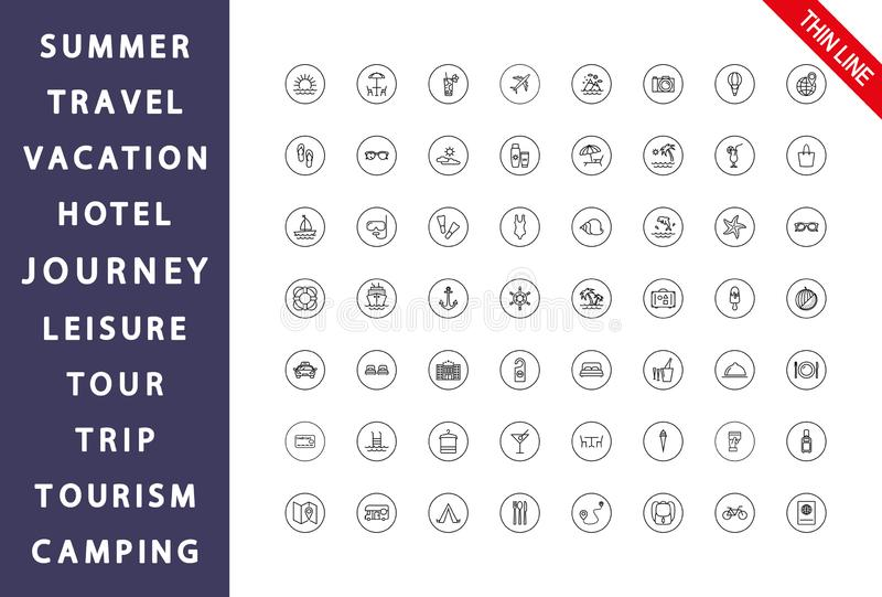 Viaje, vacaciones, viaje Sistema del icono Vector L?nea fina Editable ilustración del vector
