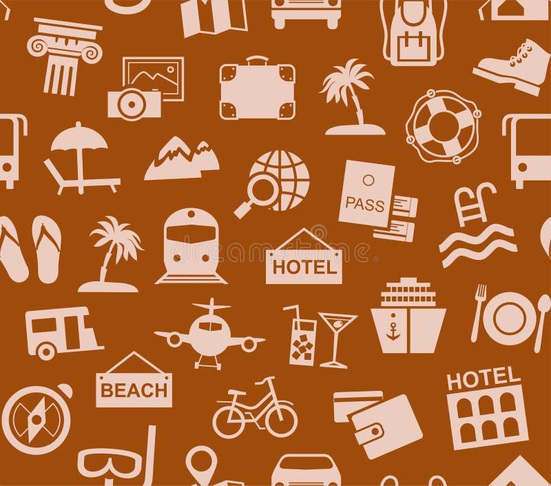 Viaje, vacaciones, turismo, vacaciones, modelo inconsútil, marrón, color, vector ilustración del vector