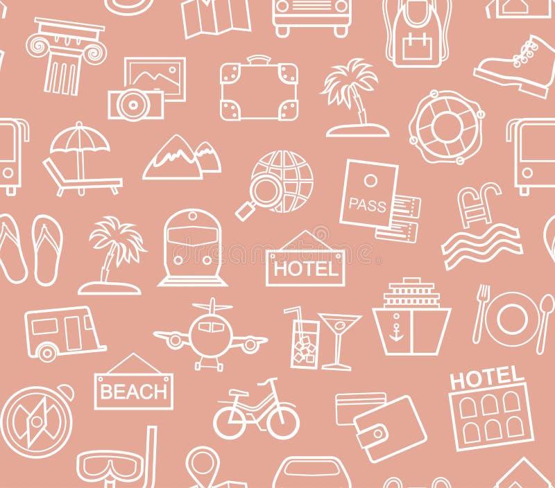 Viaje, vacaciones, turismo, ocio, modelo inconsútil, contorno, rosado stock de ilustración