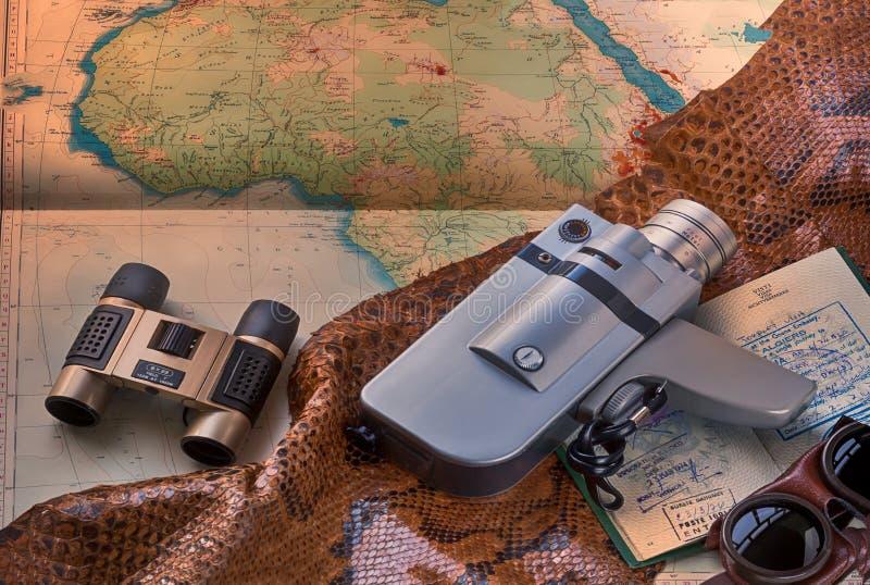 Viaje y aventura con safari en África stock de ilustración