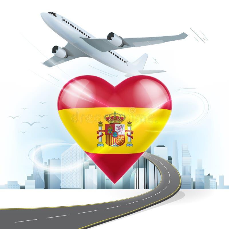 Viaje y transporte el concepto con la bandera de espa a en coraz n stock de ilustraci n - Banera de viaje ...