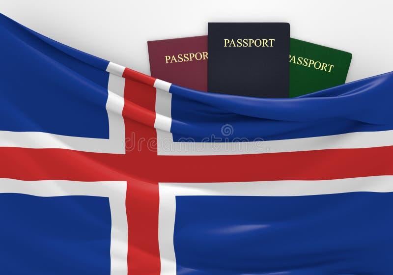 Viaje y turismo en Islandia, con los pasaportes clasificados stock de ilustración
