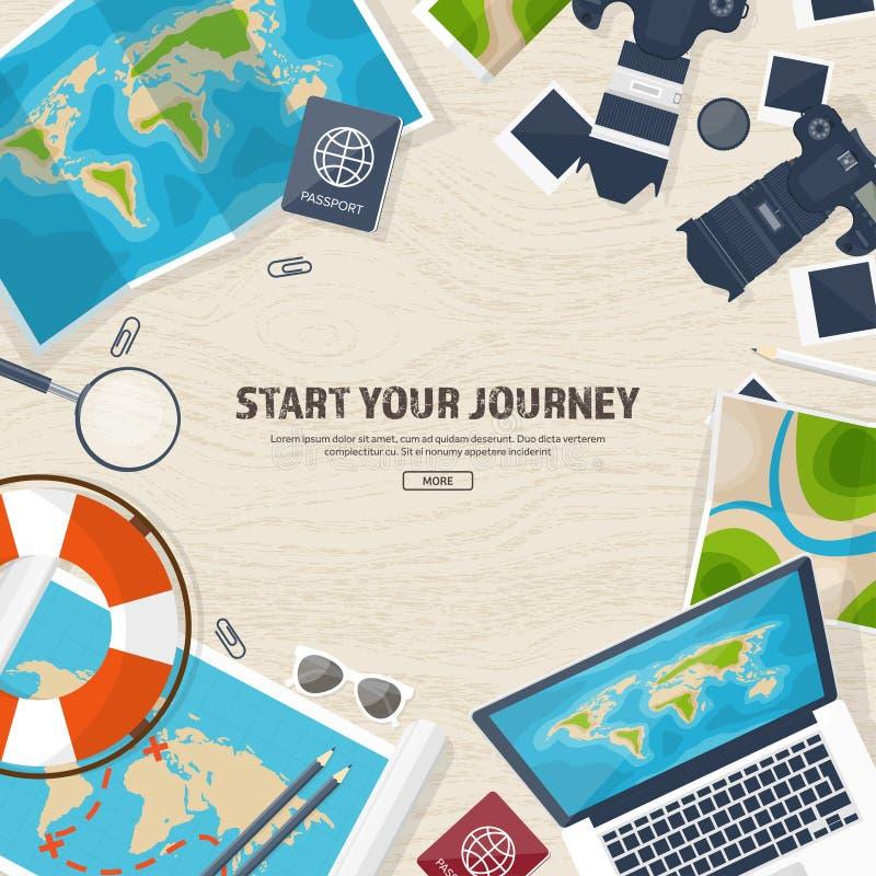 Viaje y turismo Estilo plano Mundo, mapa de la tierra Globo Viaje, viaje, viaje, vacaciones de verano El viajar, explorando stock de ilustración