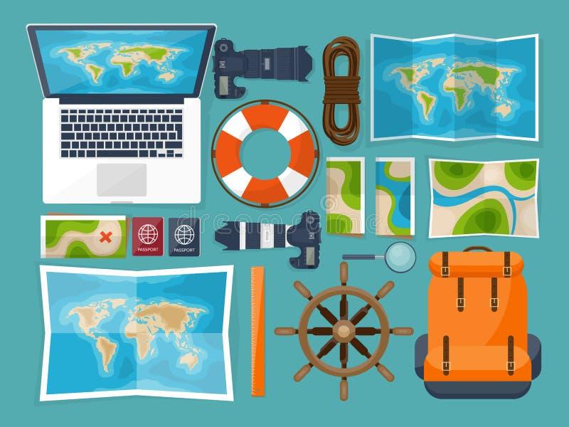 Viaje y turismo Estilo plano Mundo, mapa de la tierra Globo Viaje, viaje, viaje, vacaciones de verano El viajar, explorando ilustración del vector