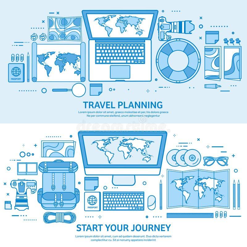 Viaje y turismo Mapa del mundo, globo de la tierra Viaje del viaje del viaje, vacaciones de verano El viajar, explorando por todo stock de ilustración