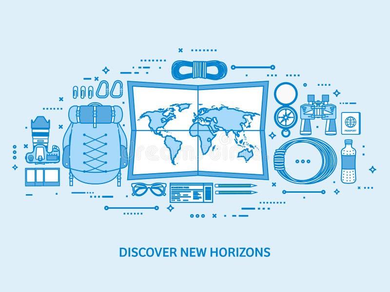 Viaje y turismo Mapa del mundo, globo de la tierra Viaje del viaje del viaje, vacaciones de verano El viajar, explorando por todo libre illustration