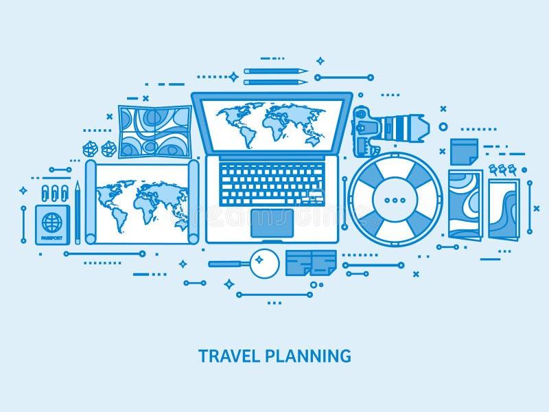 Viaje y turismo Mapa del mundo, globo de la tierra Viaje del viaje del viaje, vacaciones de verano El viajar, explorando por todo ilustración del vector