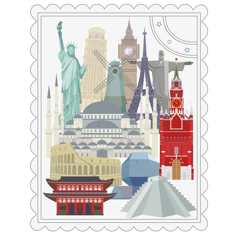 Viaje y turismo Señales arquitectónicas del mundo ilustración del vector