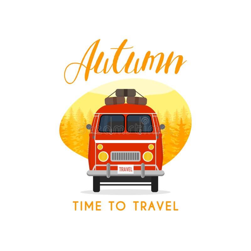Viaje y viaje de la familia del tiempo del otoño El coche familiar Ilustración del vector libre illustration