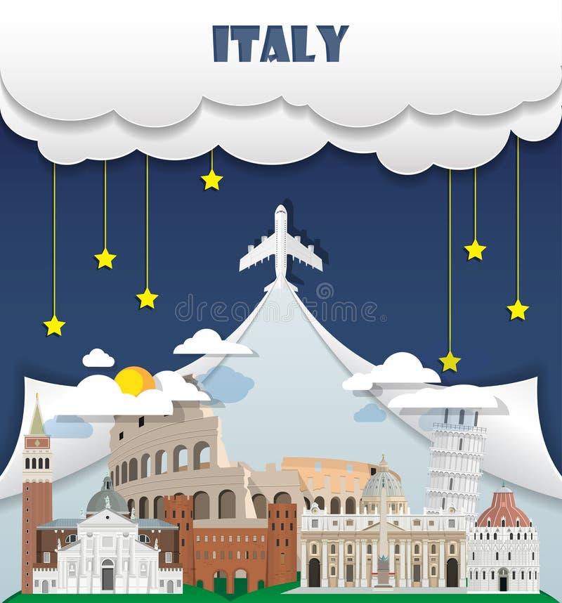 Viaje y viaje globales Infog de la señal del fondo del viaje de Italia ilustración del vector