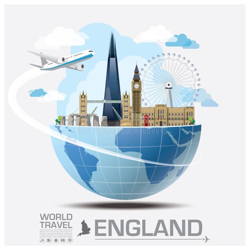 Viaje y viaje globales Infographic de la señal de Inglaterra ilustración del vector