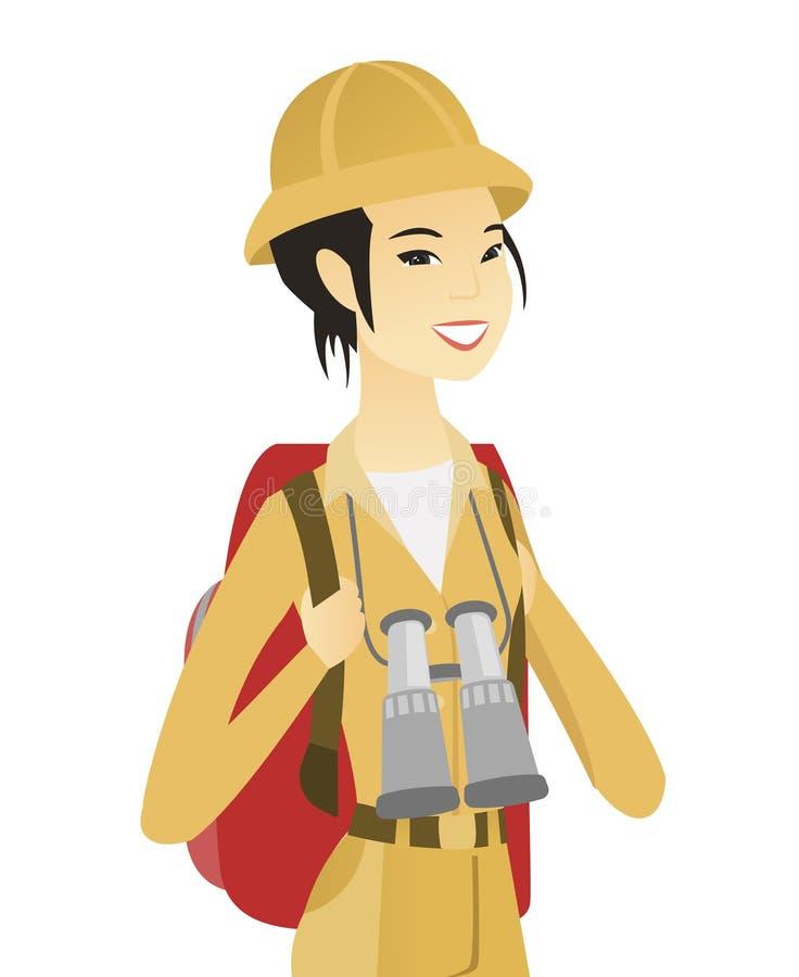 Viajero asiático joven con la mochila y los prismáticos ilustración del vector