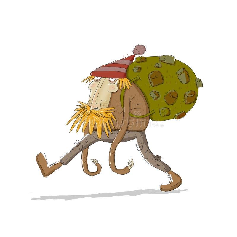 Viajero cansado con la mochila grande ilustración del vector
