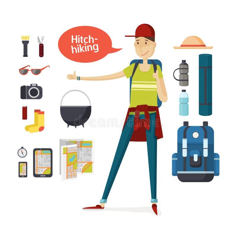Viajero con de la mochila el caminar y del viaje en un estilo de la historieta el engranaje grande completamente Muchacho que hac stock de ilustración