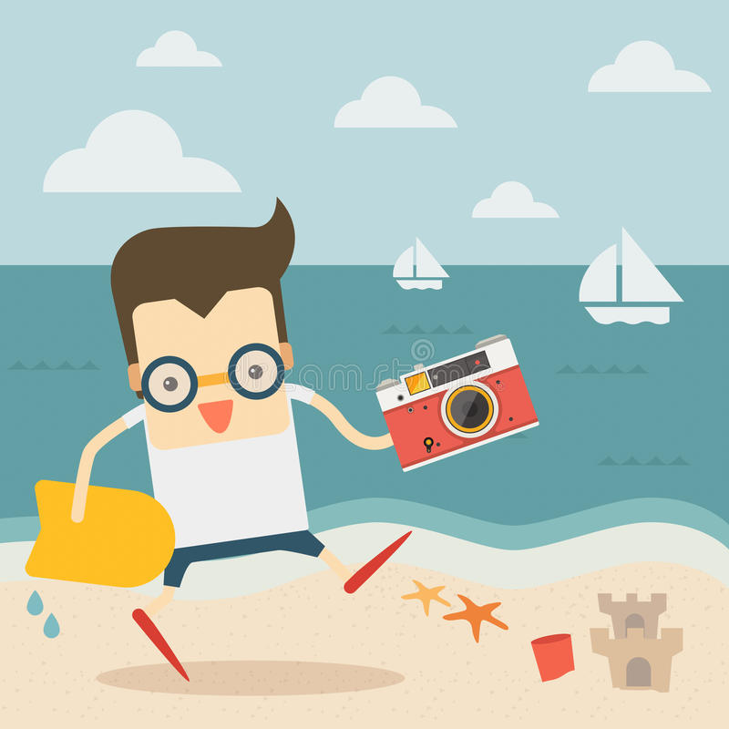 Viajero con la cámara del vintage en la playa ilustración del vector