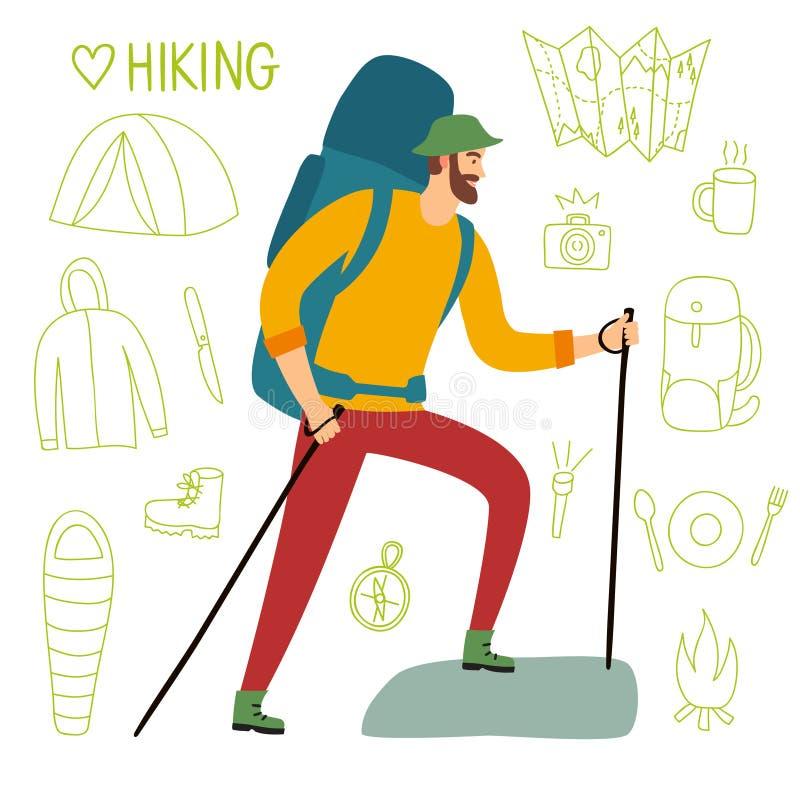 Viajero con una mochila grande y los polos del senderismo stock de ilustración