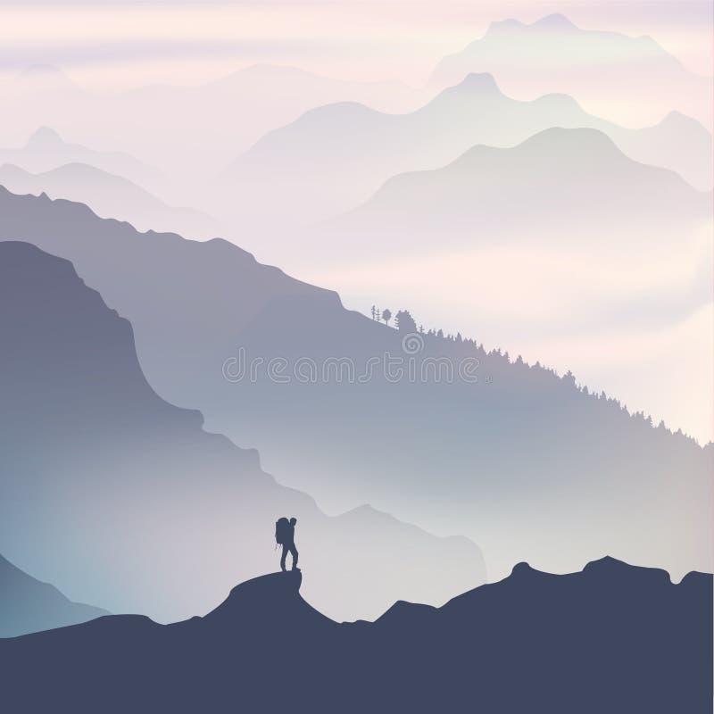 Viajero contratado al senderismo en montañas Paisaje de la salida del sol libre illustration
