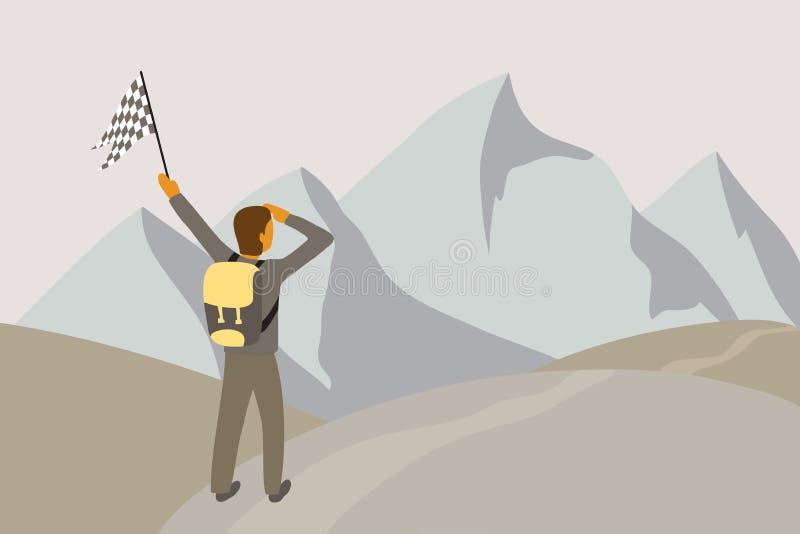 Viajero de la aventura con una mochila y una bandera en su mano stock de ilustración